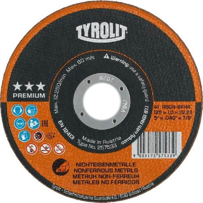 Disco corte aluminio Premium 125x1 Tyrolit